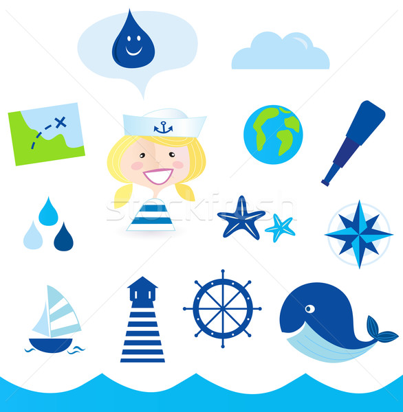 Stock photo: Nautic, Sailor And Adventure Icons - Blue