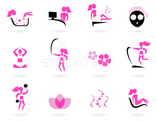 Spa, wellness & sport icons isolated on white ( pink, black ) Stock photo © lordalea