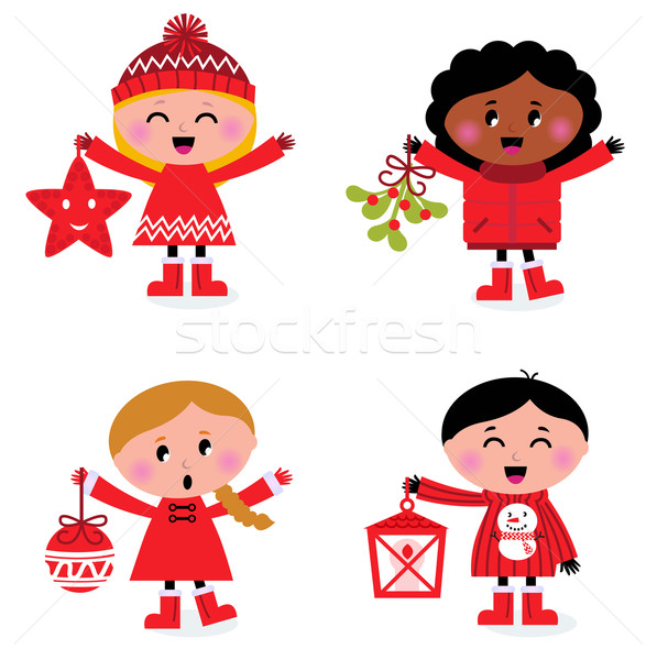Caroling christmas kids collection isolated on white Stock photo © lordalea