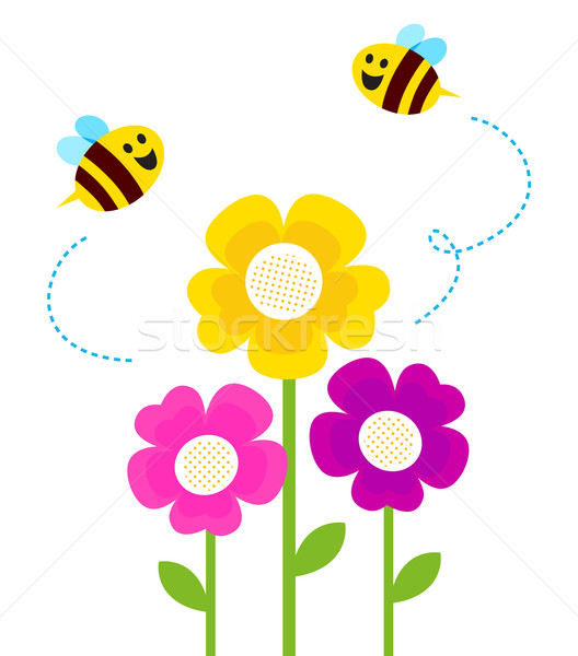 Cute bees flying around spring flowers isolated on white Stock photo © lordalea