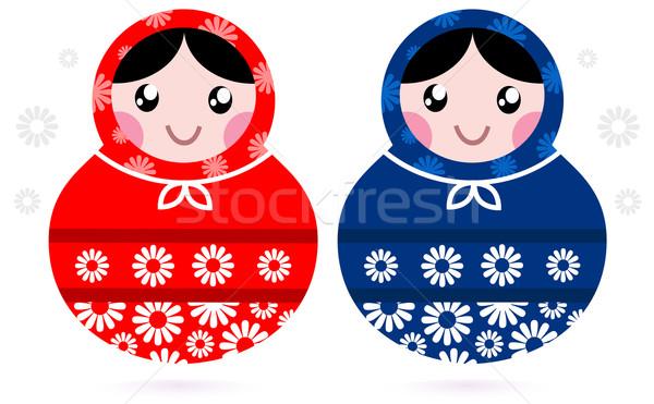 Cute Russian Matreshka dolls - red and blue Stock photo © lordalea