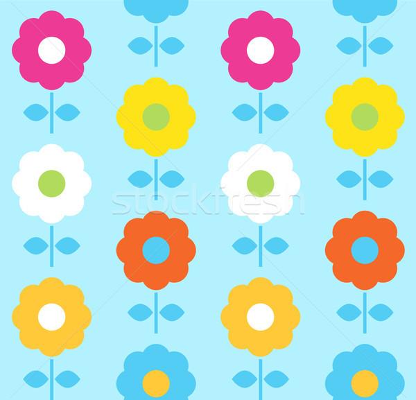 Stock photo: Spring flower seamless pattern vector design ( blue )