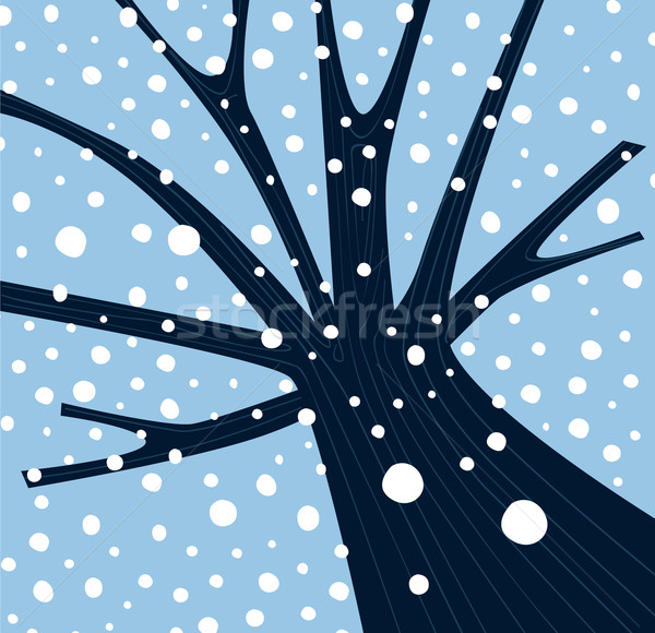 Winter Tree With Falling Snow  Stock photo © lordalea