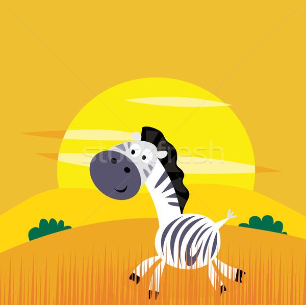 Africa Animals: Cute Cartoon Africa Zebra In The Wild Savanna Stock photo © lordalea