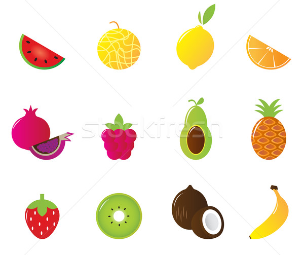 Stock photo: Juicy Fruit Icons Set isolated on white