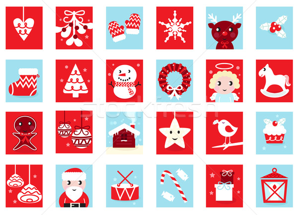 Stock photo: Advent calendar, retro christmas icons isolated on white