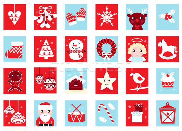 kalender retro weihnachten design rot blau. Black Bedroom Furniture Sets. Home Design Ideas