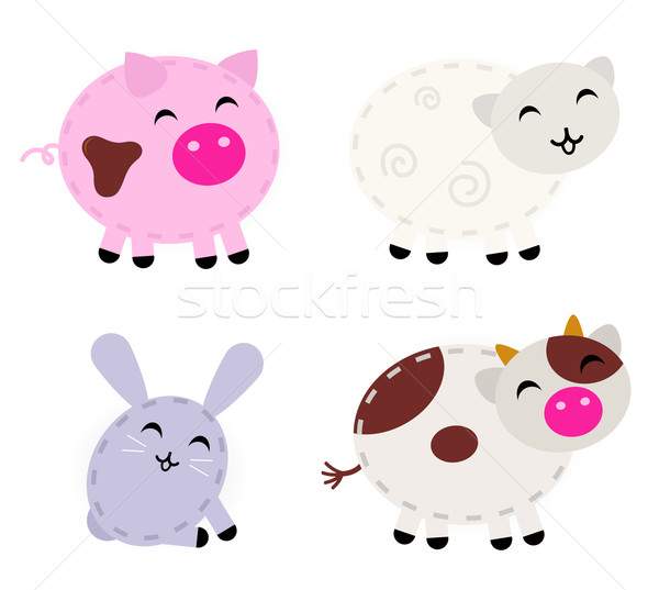 Cute farm animals set isolated on white Stock photo © lordalea