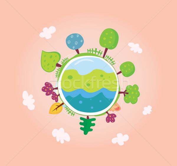 Groene planeet redding meer bomen wereldbol Stockfoto © lordalea