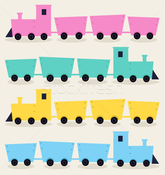 Colorful Trains isolated on beige background Stock photo © lordalea