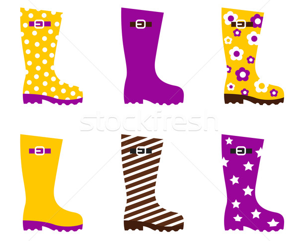 Wellington fashion boots isolated on white - yellow & pink Stock photo © lordalea