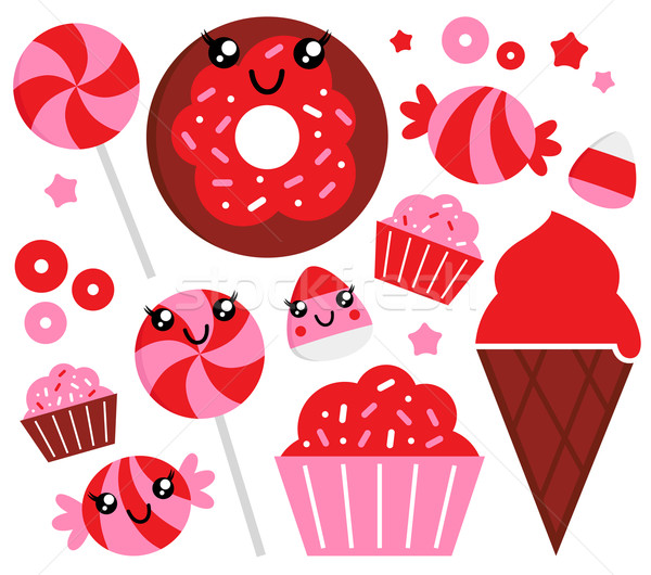 Cute strawberry candy set - red and pink Stock photo © lordalea