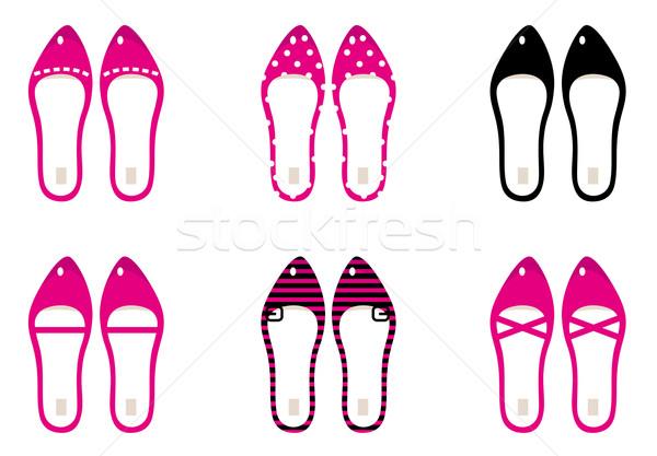 Foto stock: Belo · senhora · sapatos · isolado · branco · rosa