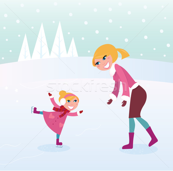 Ice skating girl with her mother on sport stadium Stock photo © lordalea
