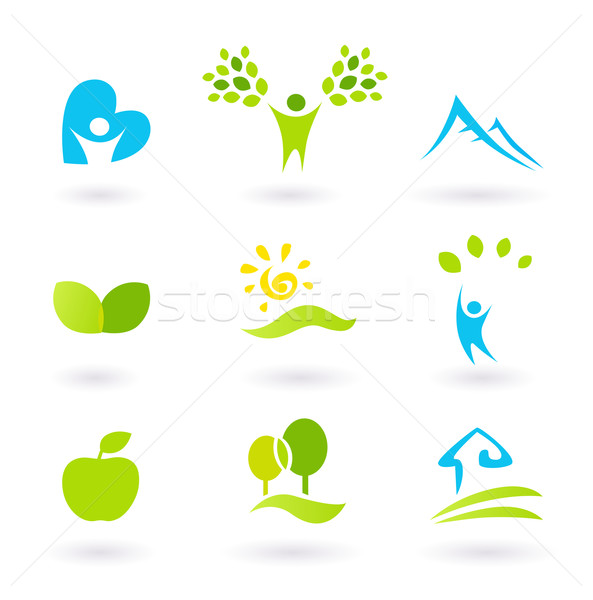 Stock photo: Nature, landscape, people and  organic Icons and Symbols - green