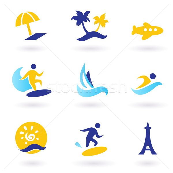 Stock photo: Retro summer, travel and water sports icons - blue and yellow
