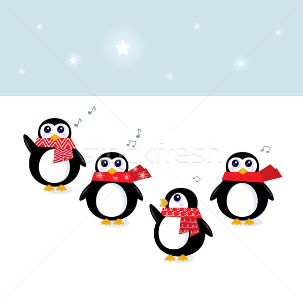 Cute christmas singing Penguins ( vector, cartoon ) Stock photo © lordalea