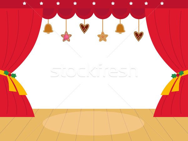 Colorful christmas Theatre podium with decoration Stock photo © lordalea
