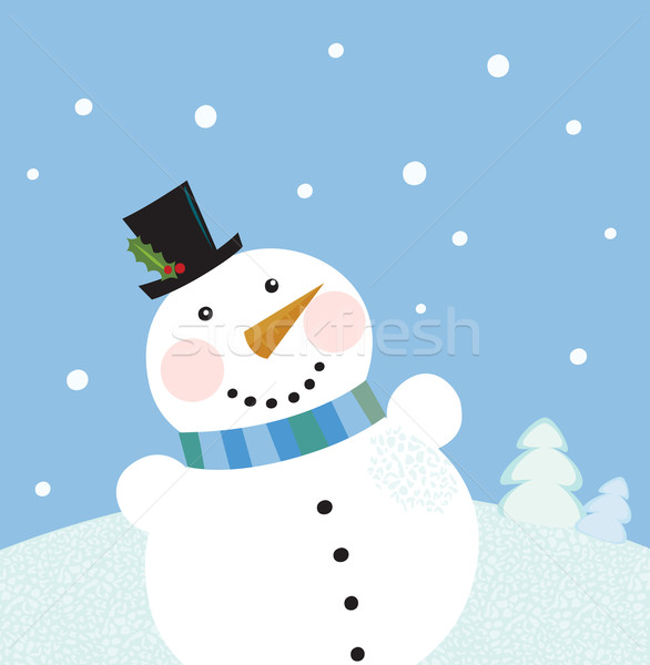 Christmas winter snowman background Stock photo © lordalea