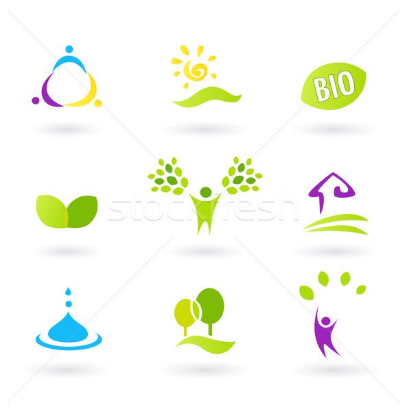 ökológia emberek természet barátságos bio ikon szett Stock fotó © lordalea