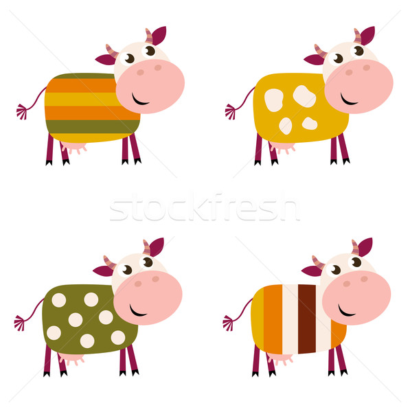 Stock photo: Cute color pattern Cows collection isolated on white background
