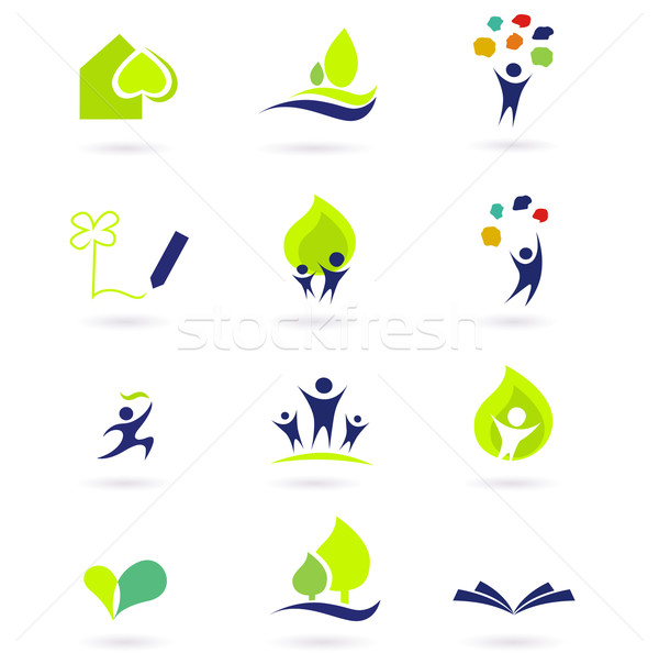 Stock photo: Nature, school and education icons