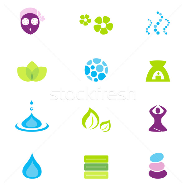 Stock photo: Wellness, spa and nature vector icons isolated on white