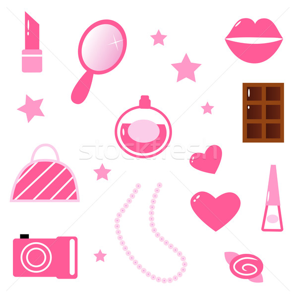 Girls pink icons and elements isolated on white Stock photo © lordalea