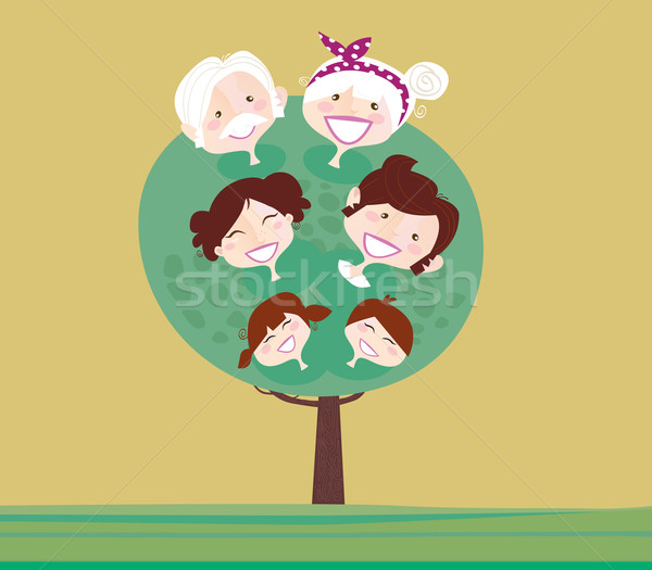 Grand famille génération arbre relation grand-mère Photo stock © lordalea