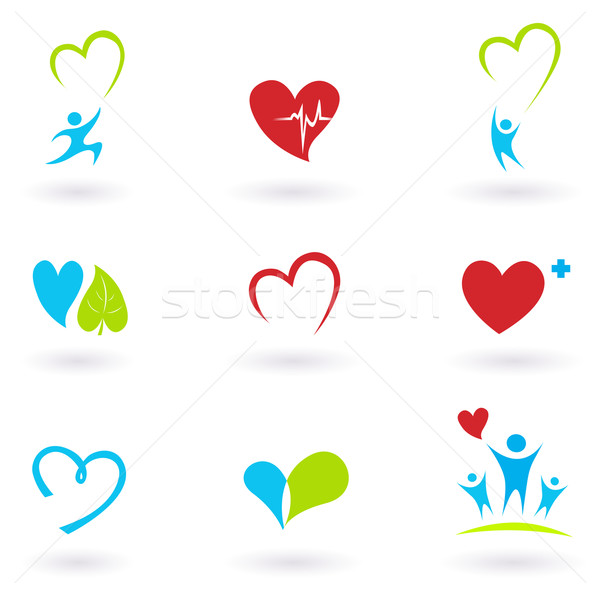 Health and Medical: Cardiology, heart and people icons collection  Stock photo © lordalea