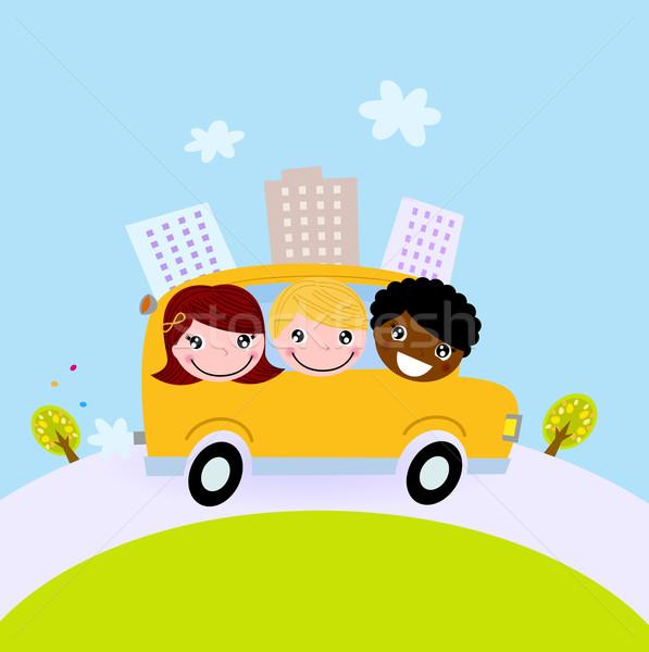 Cute kids in school bus on the hill Stock photo © lordalea