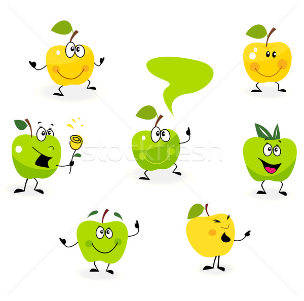 Funny green Apple fruit characters isolated on white background Stock photo © lordalea