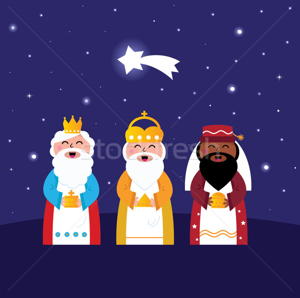 Stock photo: Three wise men bringing gifts to Christ ( night scene )