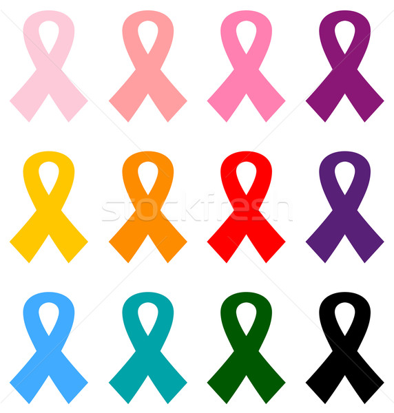 Colorful Breast cancer ribbons icon set isolated on white Stock photo © lordalea