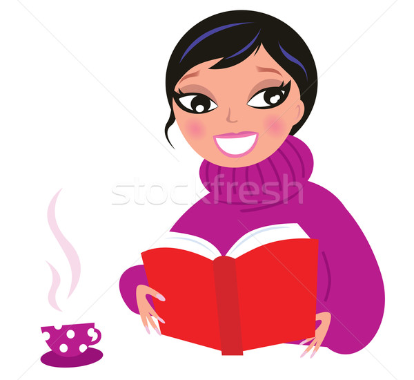 ストックフォト: 美人 · 読む · 赤 · 図書 · 白