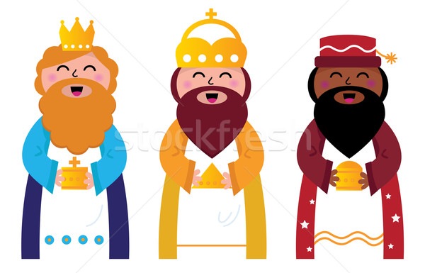 Three wise men bringing gifts to Christ, isolated on white Stock photo © lordalea