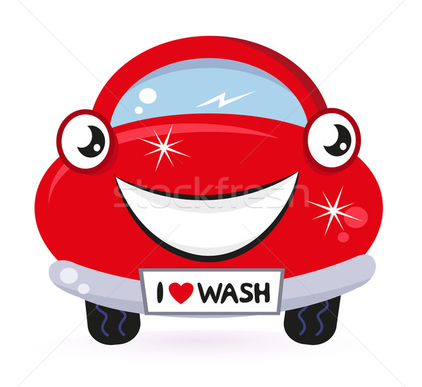 Cute red car wash isolated on white Stock photo © lordalea