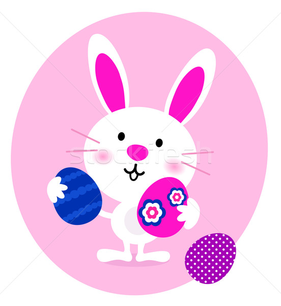 Cartoon Bunny with easter Eggs isolated on white Stock photo © lordalea