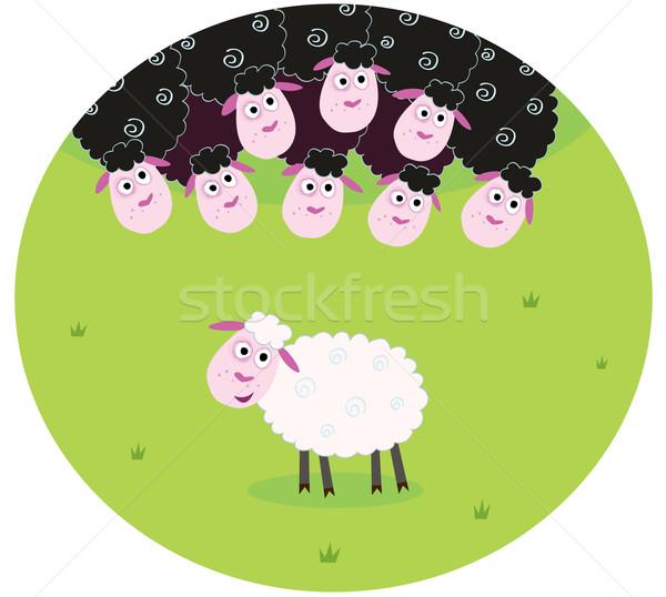 Blanc noir moutons différence blanche noir famille Photo stock © lordalea