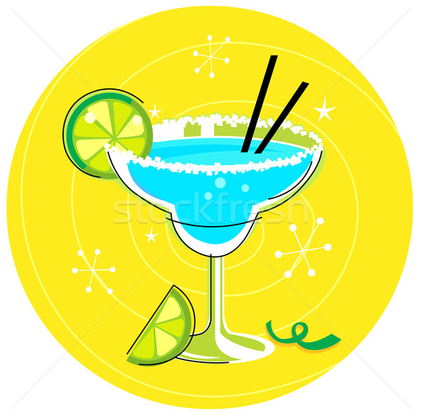 Blue Margarita: Retro cocktail icon on yellow background Stock photo © lordalea
