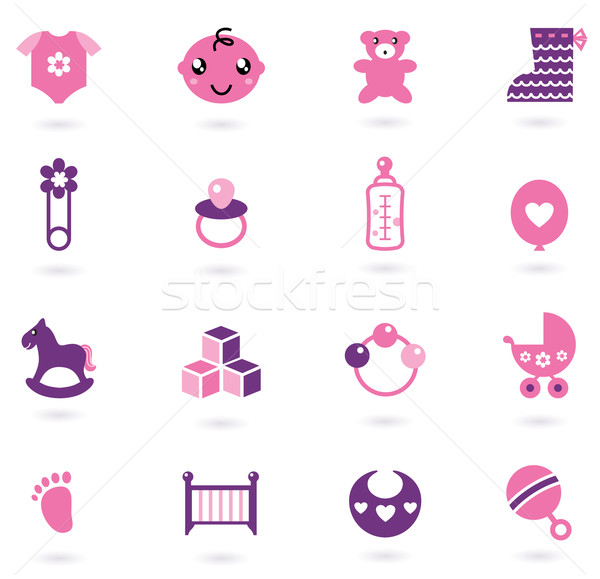 Vector pink Icons collection for baby girl isolated on white Stock photo © lordalea