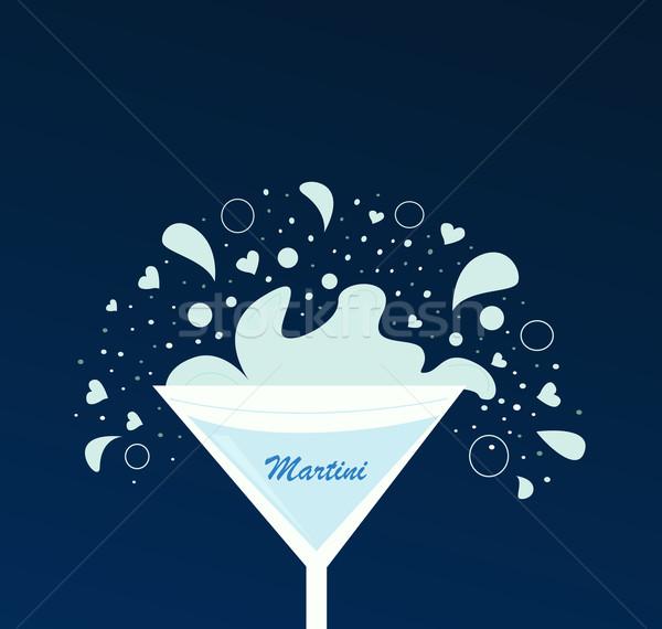 Martini beber vidro luz escuro azul Foto stock © lordalea