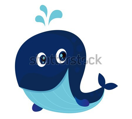 Stock photo: Big Blue Ocean Cartoon Whale
