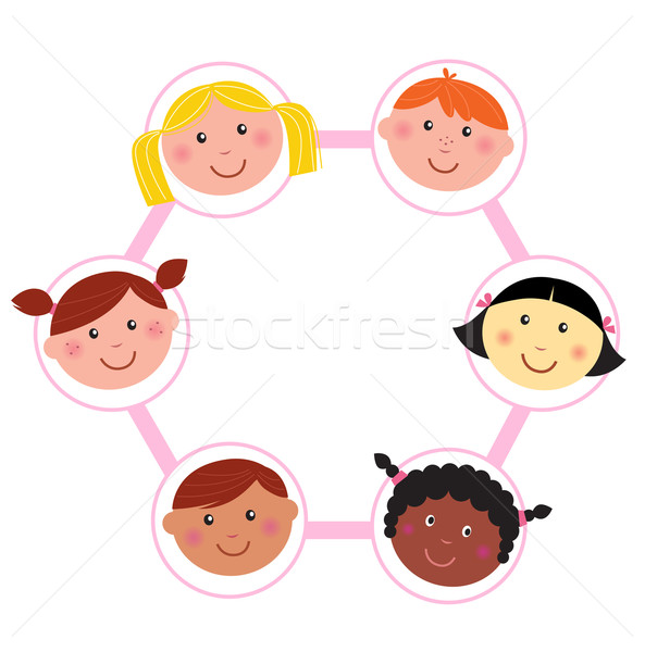 Multicultural kids head circle - icons isolated on white  Stock photo © lordalea