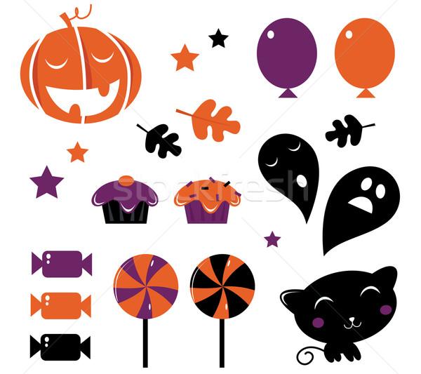 Halloween icons and retro elements isolated on white - orange &  Stock photo © lordalea
