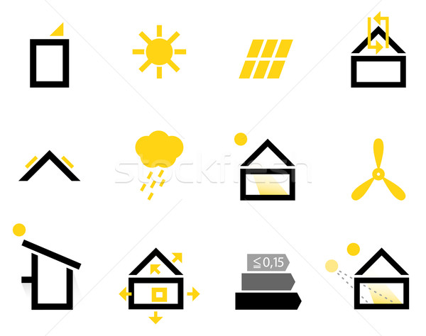 Passive house icons isolated on white ( black & yellow ) Stock photo © lordalea