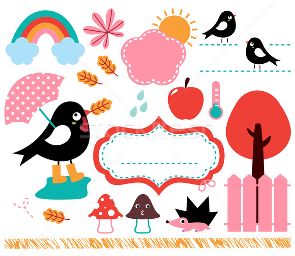 Cute Swallow and autumn elements set isolated on white Stock photo © lordalea