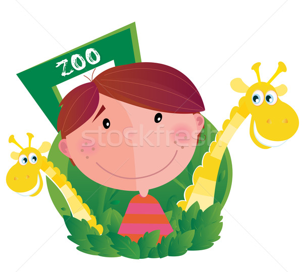 Small Boy With Two Giraffes In Zoo  Stock photo © lordalea