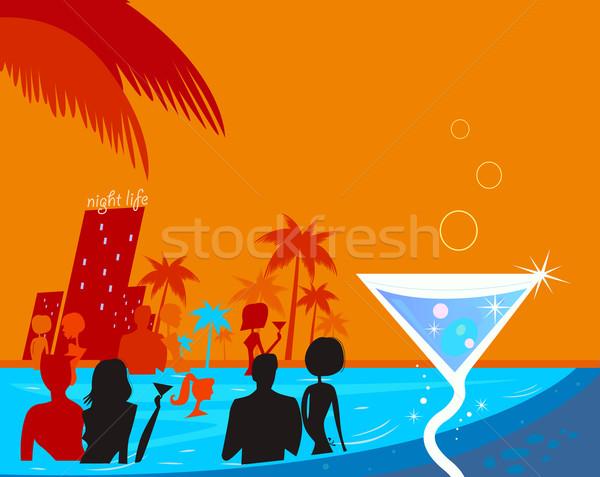 Su gece parti insanlar havuz taze Stok fotoğraf © lordalea