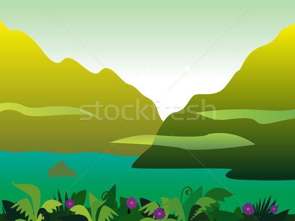 Mountain And Jungle Landscape Background  Stock photo © lordalea